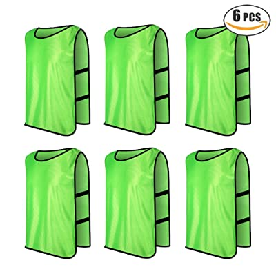 XSHINE Kids Youth Adults Team Scrimmage Vests Practice Jersey Pinnies For Sports Basketball, Football, Volleyball and Soccer (6/12 Pack)