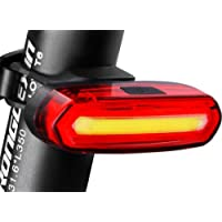 Eximtrade USB Rechargeable Vélo Bicyclette 6 Modes Feu Arrière Lampe de Poche LED Lumière d'alarme Imperméable (Rouge et Blanc)