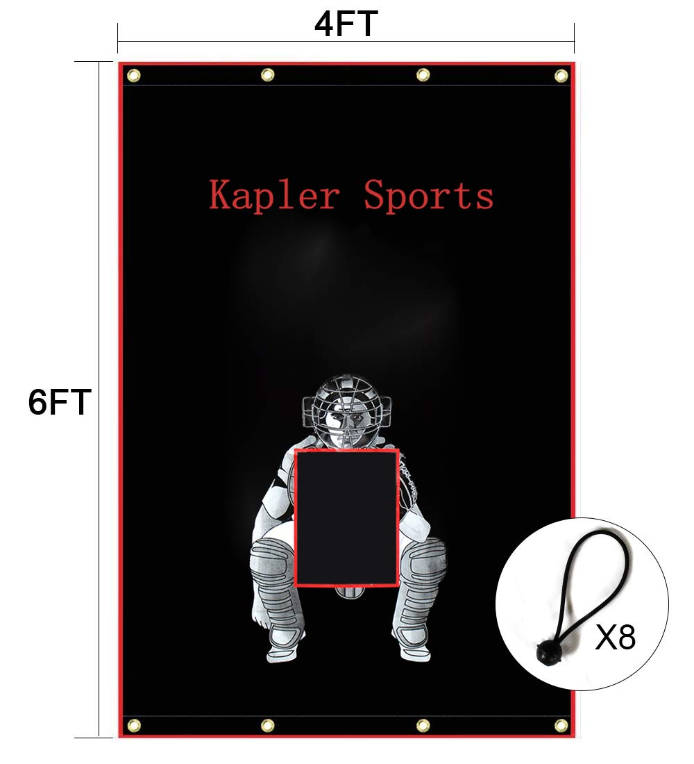 Kapler Vinyl Backstop Baseball/Softball Tarpaulin Backstop Batting cage Target with Bungees 4x6 by Kapler