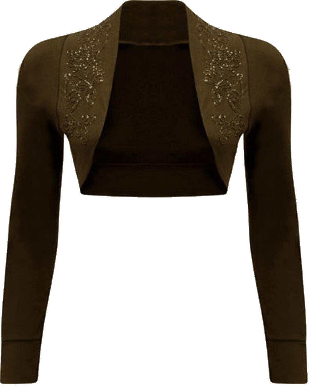 Women's Beaded Long Sleeve Bolero Crop Cardigan Top