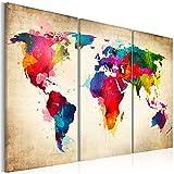Cuadro 120x80 cm ! 3 tres colores a elegir - 3 Partes - Formato Grande - Impresion en calidad fotografica - Cuadro en lienzo tejido-no tejido - mapa del mundo k-A-0006-b-f 120x80 cm B&D XXL