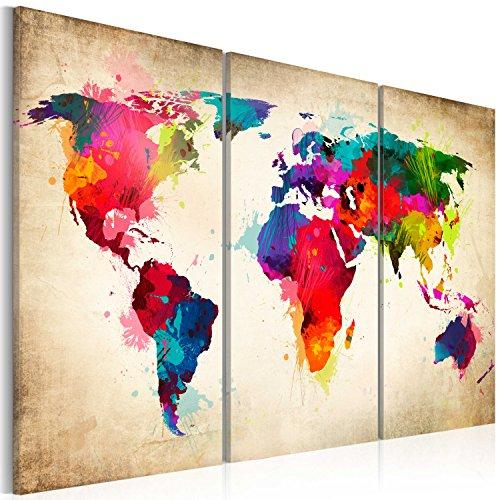 SENSATIONSPREIS ! Bilder 120x80 cm - Wasserfester Leinwanddruck ! 3 Farben zur Auswahl - XXL Format - TOP Vlies Leinwand - 3 Teilig - Wand Bild Kunstdruck Wandbild - Weltkarte k-A-0006-b-f 120x80 cm