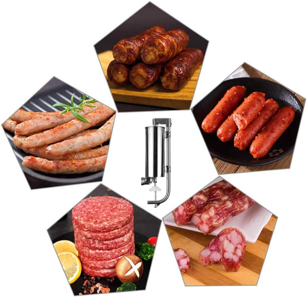 Vertical Kitchen Stainless Steel Manual Meat Sausage Machine with Suction Base Packed 4 Size Professional Filling Nozzles for Homemade 7LBS//4L Songlela Sausage Stuffer Maker