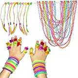SmitCo LLC Little Girl Accessories - Play Jewelry Party Favors Set Of 10 Pre-filled Goodie Bags - 2 Neon Coil Bracelets, 1 Long Strand of Beads, 2 Emoji Rings and 1 Hair Piece, Total 60 Pieces by