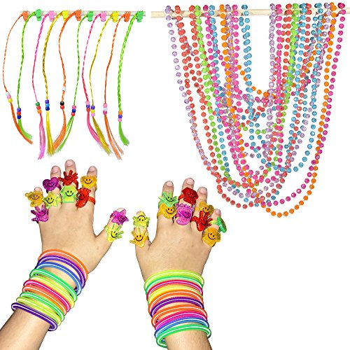 SmitCo LLC Girl's Birthday Party Favors, Set Of 10 Pre-filled Goodie Bags Or Stocking Stuffers, Including 2 Neon Coil Bracelets, 1 Long Strand of Beads, 2 Emoji Rings and 1 Hair Piece, Total 60 Pieces (Party Favors Girls)