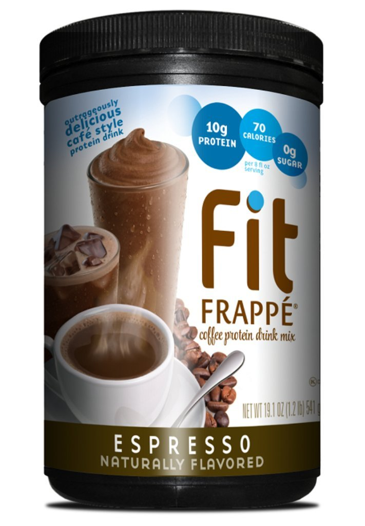 Fit Frappe Protein Drink Mix, Espresso, 19.1 Ounce, Coffee Flavored Meal Replacement Protein Drink, Drink Hot Cold or Blended with Ice,