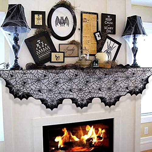 JINMURY Mysterious Halloween Decorations Black Lace Spider Web Fireplace Mantle Scarf Cover Unique Bats Fan-Shaped Edge Mantle Cover Halloween Fireplace Decoration Prop Festival Supplies,20 x 80 Inch