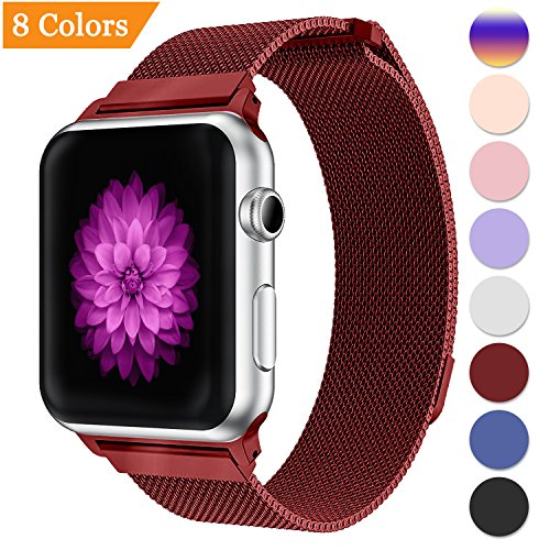 YOUKEX Milanese Loop Replacement Band Compatible Apple Watch 38mm 42mm 40mm 44mm,Stainless Steel Mesh Band Magnetic Closure iWatch Series 4/3/2/1-42mm/44mm red