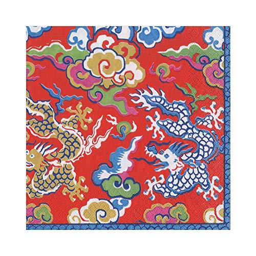 Caspari Imperial Silk Paper Luncheon Napkins in Red, 20 Per ()