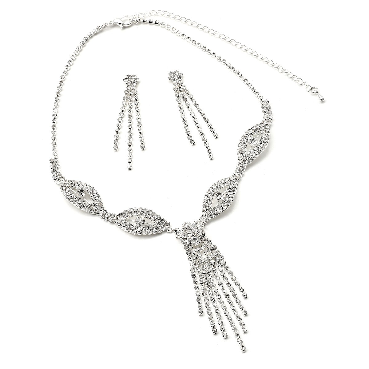 00c8d90eb6d7 Amazon.com  Silver Crystal Rhinestone 3 Strands Dangle Earrings   Eye  Shaped with Multiple Strands Dangling Chandelier Center Necklace Jewelry  Set  Jewelry