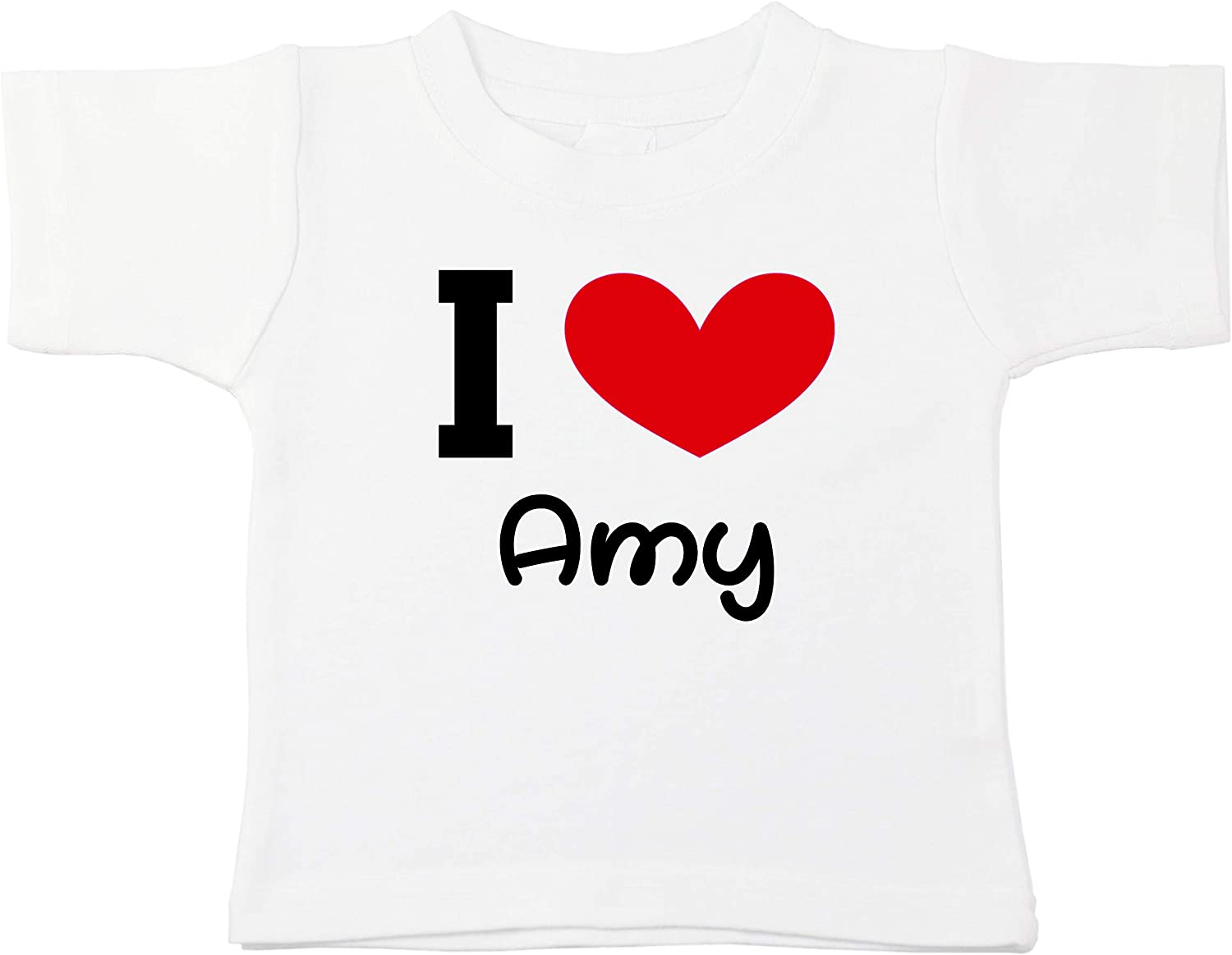 Kinacle I Love Amy Personalized Baby//Toddler T-Shirt