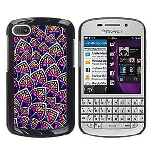 TopCaseStore / la caja del caucho duro de la cubierta de protección de la piel - Flower Neon Colorful Uniform Pattern - BlackBerry Q10