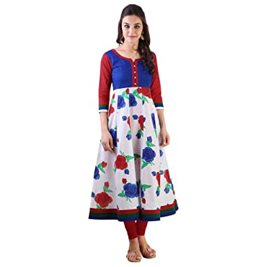 aac41b990 Image Unavailable. Image not available for. Colour  Libas Women s White  Printed Cotton Anarkali Kurta ...