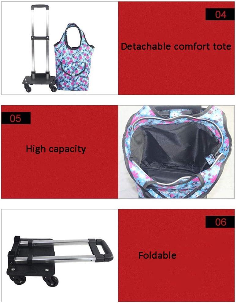 Color : Multi-Colored-Black XingKunBMshop Telescopic Folding Aluminum Alloy Universal Wheel Shopping Bag Waterproof Fabric Capacity Increased Warehouse,Market