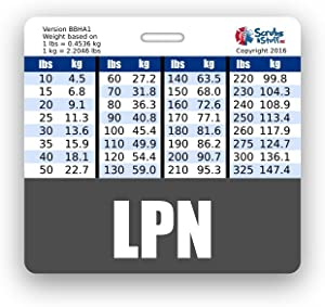 LPN Badge Buddy Horizontal w/Height & Weight Conversion Charts (Gray)