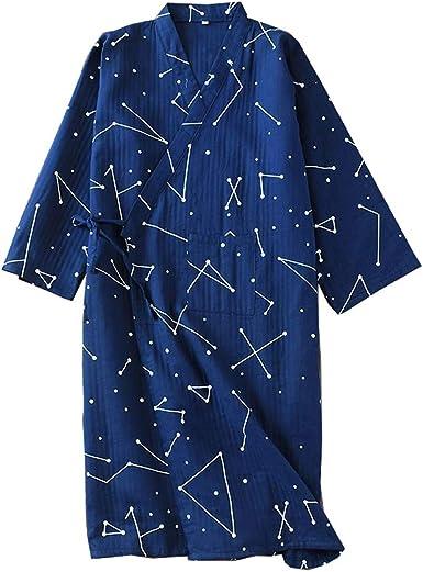 Bata de algodón Japonesa para Hombre Bata de Kimono de Pijama - # 0A: Amazon.es: Ropa y accesorios