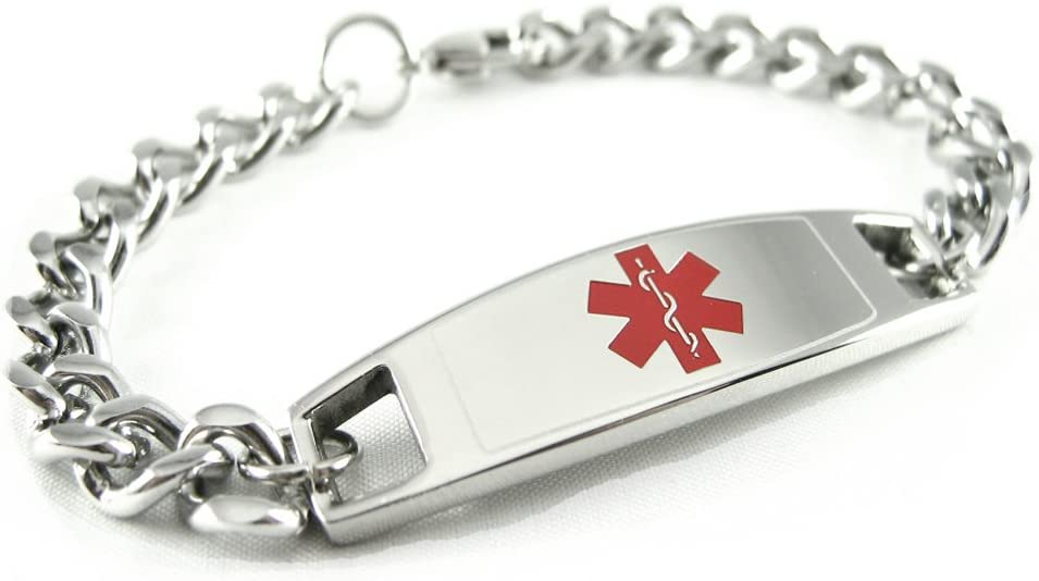 My Identity Doctor – Custom Engraved Medical Alert Bracelet for Kids and Adults – 316L Steel – Small – Red