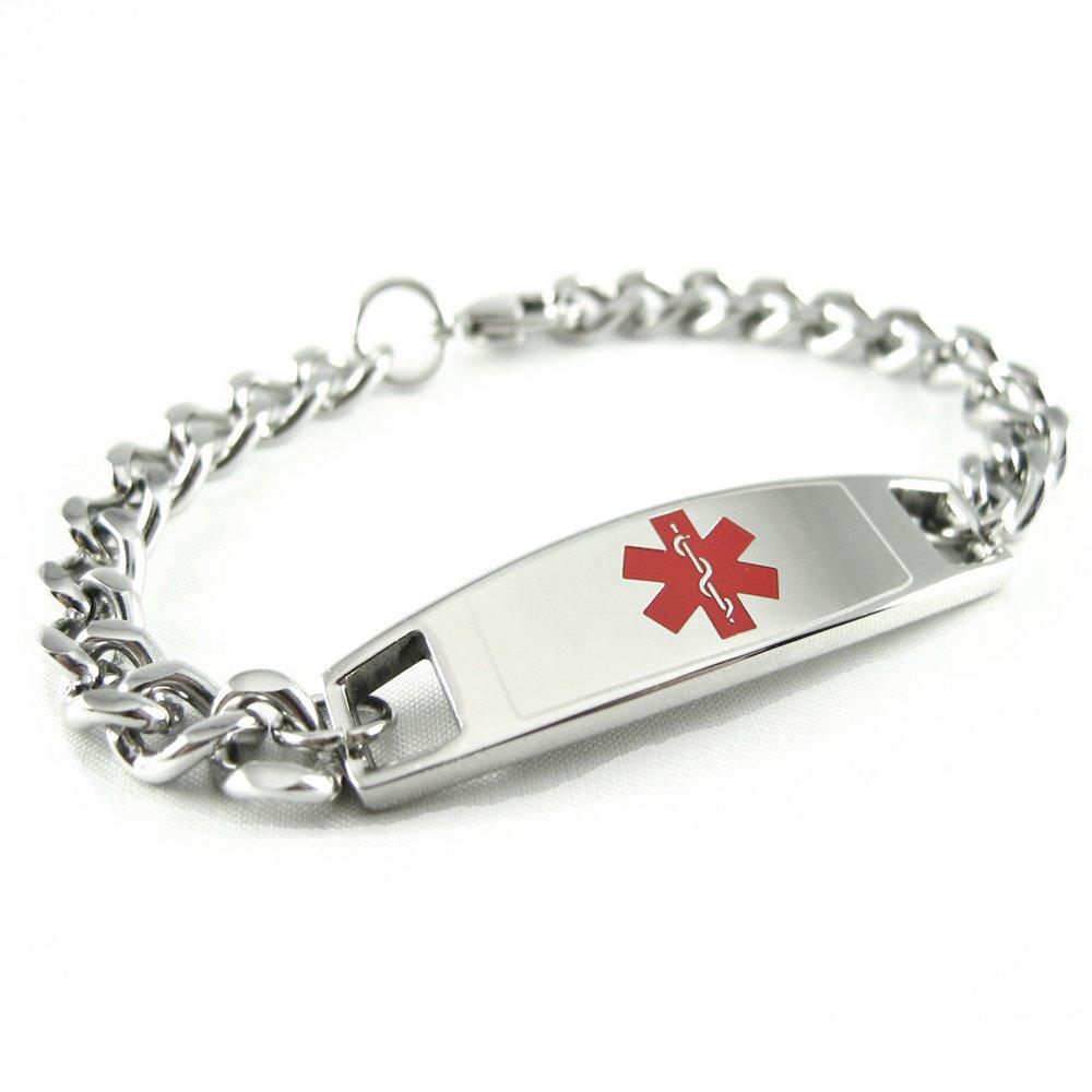 My Identity Doctor: Custom Engraved Medical Alert Bracelet 316L Steel Small Kids & Adult - Red