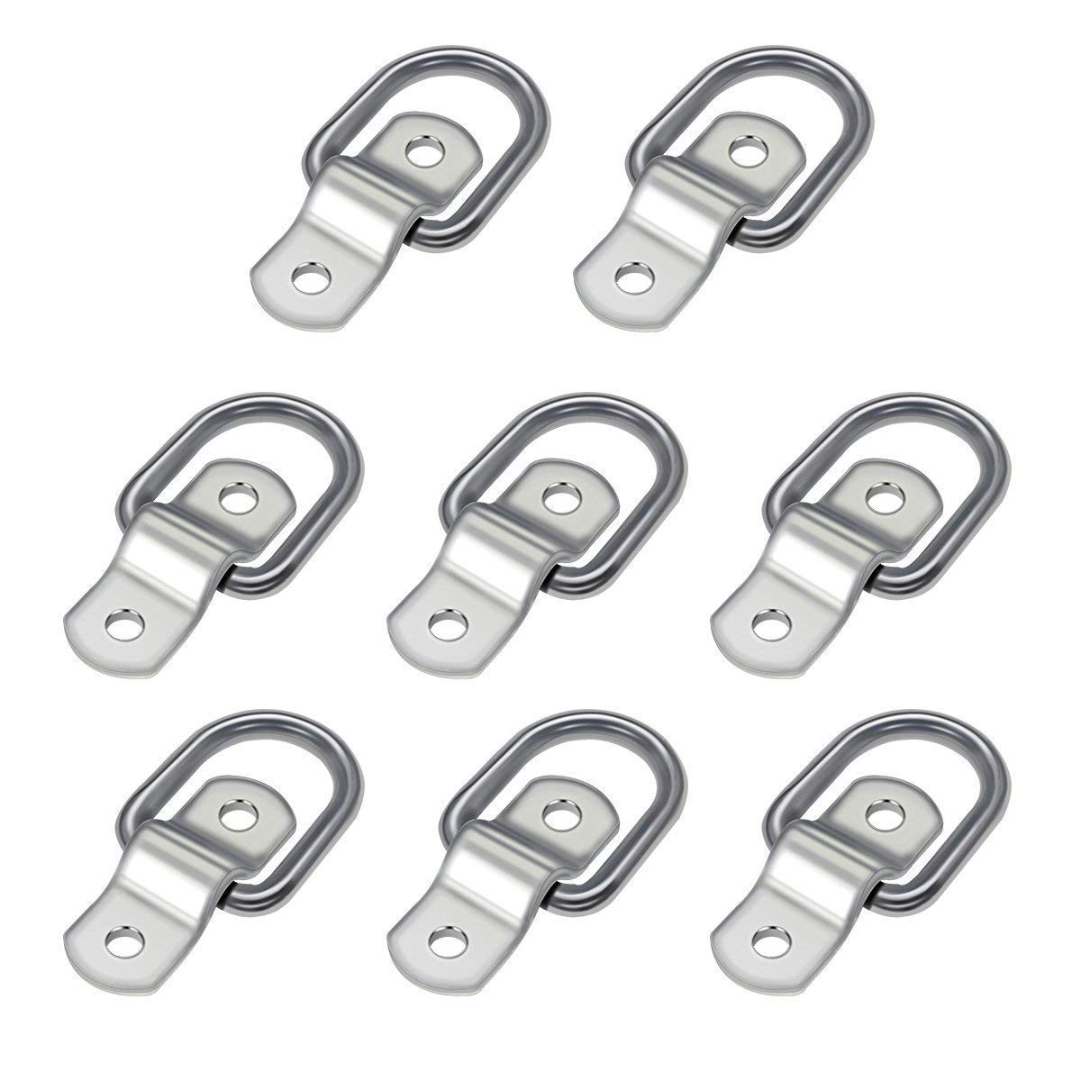 Audew 8-Pack D Ring 1//4 Tie Down Ring Load Anchor Trailer Anchor Forged Lashing Ring with 9600 Pound Capacity