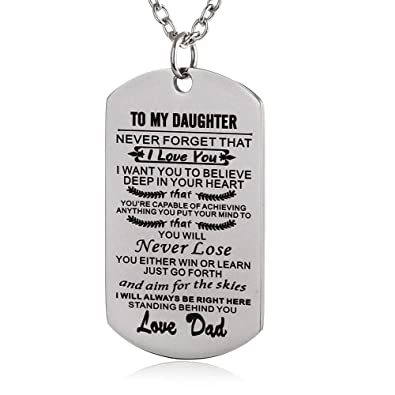 fayerxl to my amazing daughter son dog tag necklace gift ideas from dad mom inspiration quote gift dad to daughter amazoncom