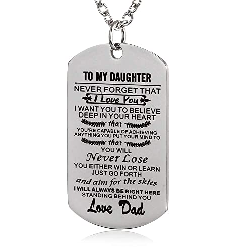 db85f37a1 FAYERXL to My Amazing Daughter Son Dog Tag Necklace Gift Ideas from Dad Mom  Inspiration Quote