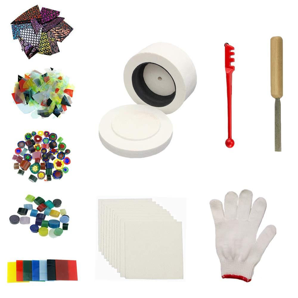 Small Microwave Kiln Kits 10pcs Set Glass Fusing for Jewelry Making Tools Love Charm MK023