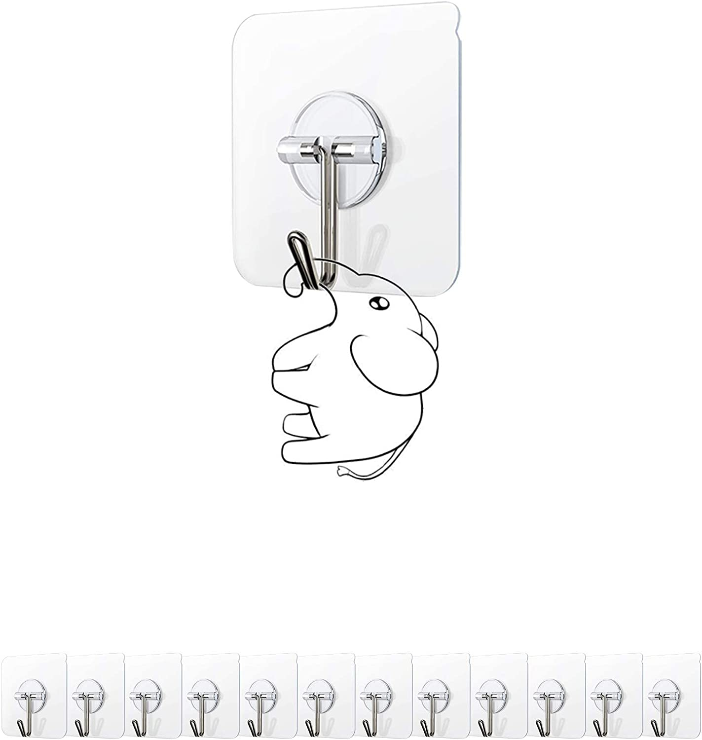 iCAGY Wall Hangers Without Nails, No Damage Wall Hangers, 13lbs (Max) Utility Adhesive Hooks Clear Heavy Duty Waterproof Reusable Seamless 180 Degree Rotating Damage Free - 2.36