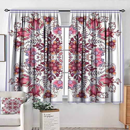 Elliot Dorothy Window Blackout Curtains Batik,Vintage Colored Spring Inspired Blooming Floral Motif Oriental Lace Bridal Artwork,Pink Lilac,Rod Pocket Curtain Panels for Bedroom & Kitchen 42