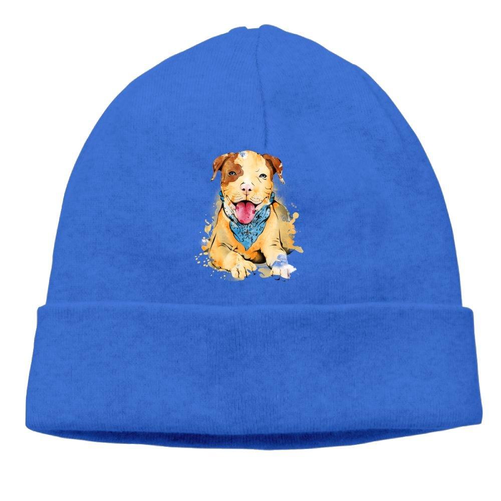 Oopp Jfhg Beanie Knit Hats Ski Caps Pitbull Watercolor Unisex RoyalBlue
