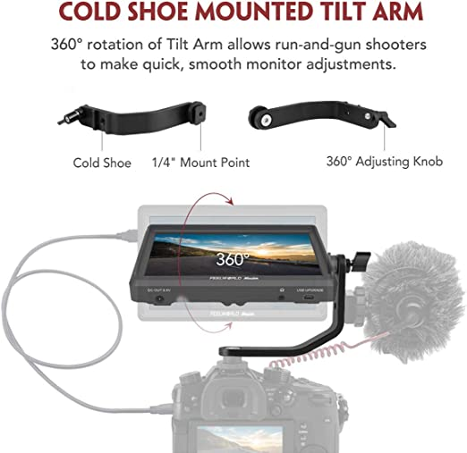 Feelworld Master MA6P DSLR Monitor with 4K HDMI 8.4V DC in//Out 5.5 Inch Camera Field Monitor Full HD 1920x1080 Peaking Focus Assist Tilt Arm Included