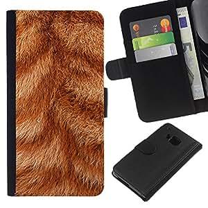 HTC One M9 , la tarjeta de Crédito Slots PU Funda de cuero Monedero caso cubierta de piel ( Fur Close Orange Ginger Cat Stripes Animal)