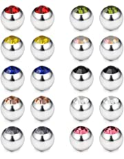 Ruifan 60PCS 316L Surfical Steel Replacement Balls Body Jewelry Piercing Barbell Parts 14G Women Men