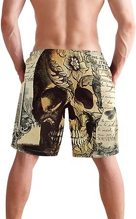 Hunihuni - Pantalones cortos de playa para hombre, diseño de calavera, estilo vintage, con bolsillo