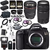 Canon EOS 5DS 5D S DSLR Camera + EF 24-105mm f/4L IS USM Lens + Canon EF 75-300mm f/4-5.6 III Telephoto Zoom Lens + LPE-6 Lithium Ion Battery + Canon 100ES EOS shoulder bag Bundle 5