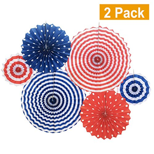 Set of 12 Patriotic Party/4th of July Colorful Hanging Paper Fans Rosettes Party Decorations Fiesta Party Supplies Photo Props for Wedding Birthday Baby Shower Event, Red/White/Blue(Style 2) by Lansian