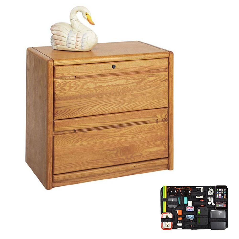 Two Drawer Wood Lateral File with Grid-It Desk Organizer Medium Oak Dimensions: 33.75''W x 19.5''D x 29''H Weight: 164 lbs.