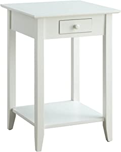 Convenience Concepts American Heritage End Table with Drawer and Shelf, White