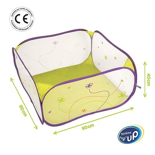 LUDI - Aire de jeu pour bébé en tissu et structure pop-up 90 x 90 x 44 cm. Dès la naissance. Pour jouer en sécurité ! Se Plie et se range dans un sac très léger.  Adapté pour les fond de parc - 2839