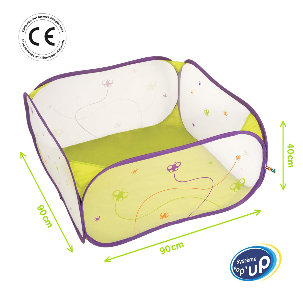 LUDI - Aire de jeu pour bébé en tissu et structure pop-up 90 x 90 x 44 cm. Dès la naissance. Pour jouer en sécurité ! Se Plie et se range dans un sac très léger.  Adapté pour les fond de parc - 2839 product image
