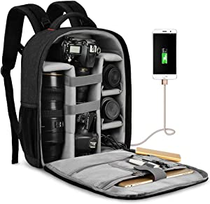 "CADeN Waterproof DSLR Camera Bag Backpack Professional Large Camera Backpack with Laptop Compartment 14"",Tripod Holder, USB Charging and Rain Cover for Nikon Canon Sony Mirrorless Cameras and Lenses"