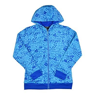 Under Armour Girls' UA Logo Full Zip Graphic Hoody-Blue-Large
