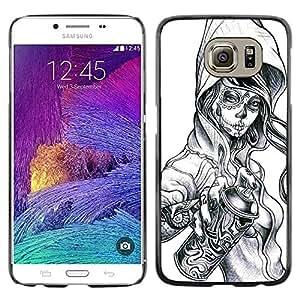 rígido protector delgado Shell Prima Delgada Casa Carcasa Funda Case Bandera Cover Armor para Samsung Galaxy S6 SM-G920 /Graffiti Tattoo Zombie Skull Girl Spray/ STRONG
