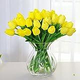 Amkun, 10 tulipani finti in poliuretano, realistici, per casa, cucina, salotto, sala da pranzo, matrimonio, decorazione, centrotavola Yellow