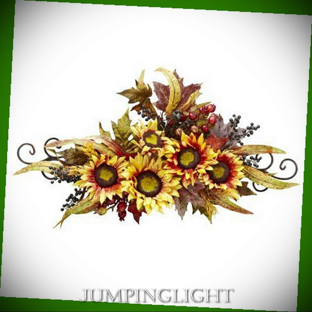 JumpingLight 4932 Sunflower Swag with Metal Frame Artificial Flowers Wedding Party Centerpieces Arrangements Bouquets Supplies