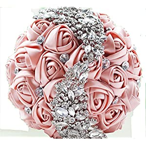 Pavian Advanced Customization S Type Brooch Wedding bouqeut Bride Holding Flowers with Rhinestone Pearl 111