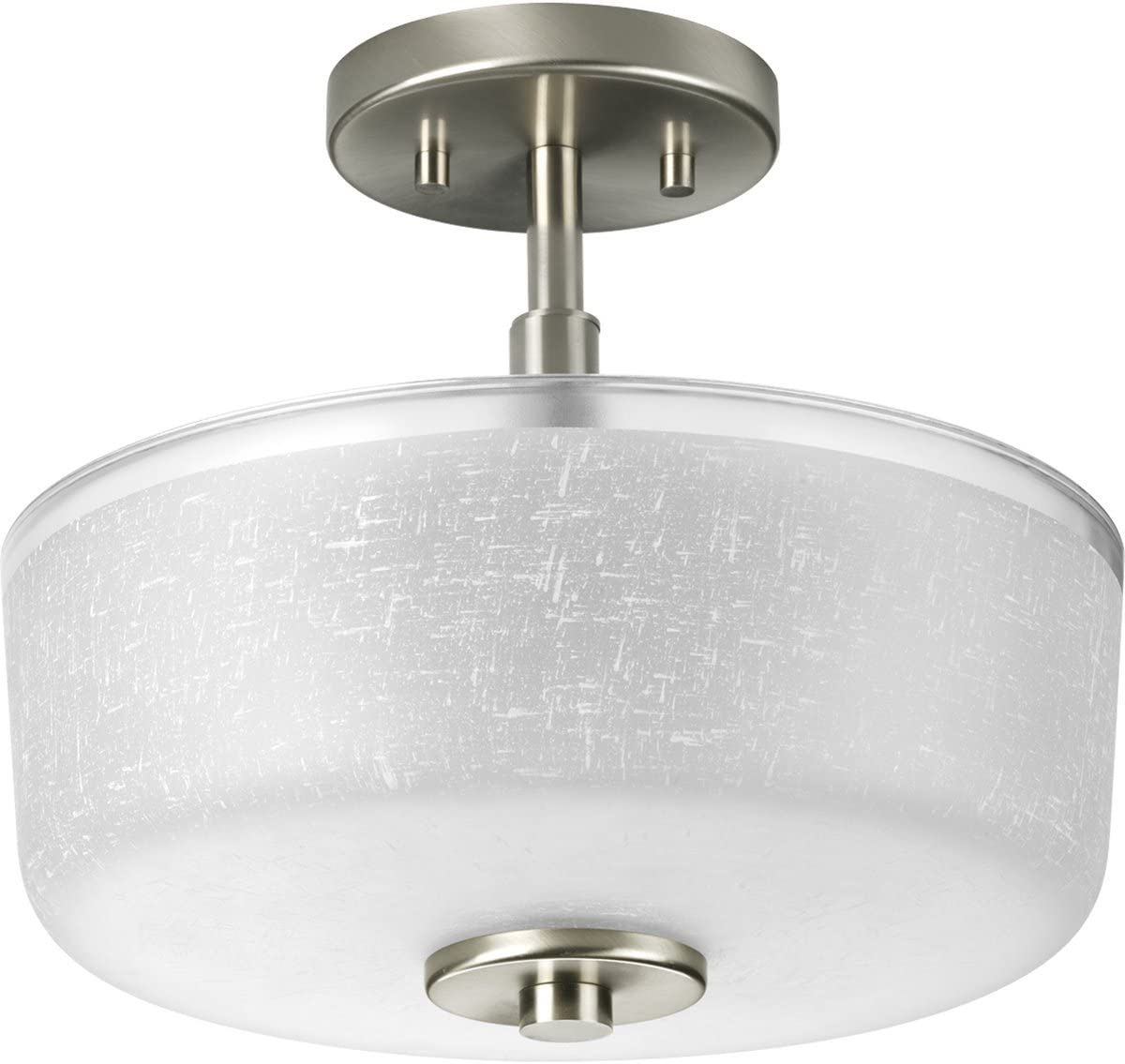 Amazon Com Progress Lighting P2851 09 2 Light Semi Flush With White Linen Finished Glass And A Clear Edge Accent Strip Brushed Nickel Home Improvement