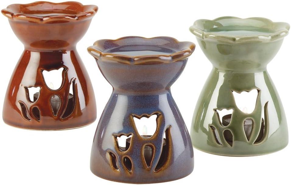 Gifts & Decor Porcelain Tulip Fun Flower Oil Warmer Figure, Set of 3
