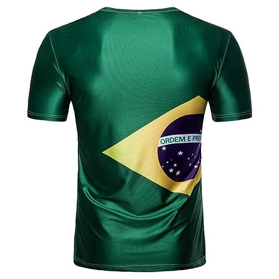 LuckyGirls Camisetas Hombre Originales Estampado de Fútbol Manga Corta Camisas para Copa Mundial FIFA 2018 Casual Verano Remera Moda Polos Verde: Amazon.es: ...