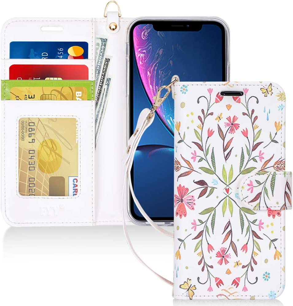 FYY Luxury PU Leather Wallet Case for iPhone XR, [Kickstand Feature] Flip Phone Case Folio Protective Shockproof Cover with [Card Holder][Wrist Strap] for Apple iPhone XR 6.1