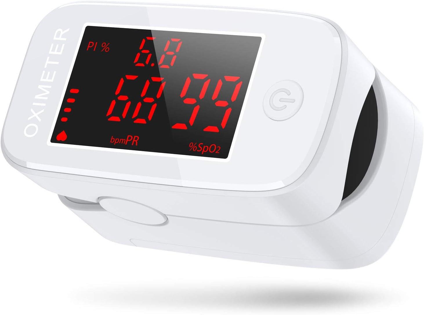 Oximetro Dedo, JOYSKY Pulsioximetro de Dedo Profesional 3 en 1, Oxímetro de Pulso Digital de Lectura Instantánea, Medidor de Oxigeno en Sangre con Pantalla LED